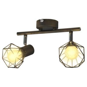 VidaXL Black Industrial Style Wire Frame Spot Light with 2 LED Filament Bulbs