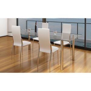 VidaXL Dining Chairs 4 pcs White Faux Leather