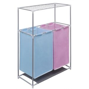VidaXL 2-Section Laundry Sorter Hamper with a Top Shelf for Drying
