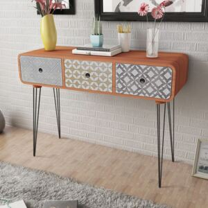 Console Table with 3 Drawers Brown