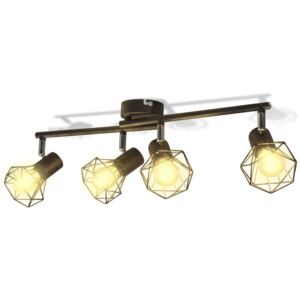 VidaXL Black Industrial Style Wire Frame Spot Light with 4 LED Filament Bulbs