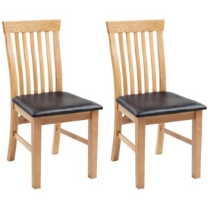 Dining Chairs 2 pcs Solid Oak Wood and Faux Leather