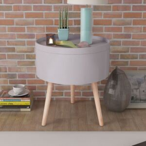 VidaXL Side Table with Serving Tray Round 39.5x44.5 cm Grey