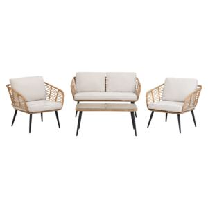Garden Conversation Sofa Set Beige Faux Rattan with Cushions and Coffee Table Beliani