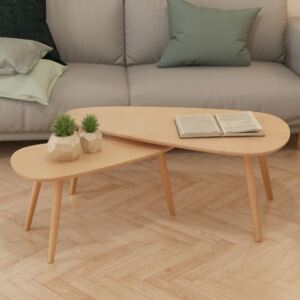 Coffee Table Set 2 Pieces Solid Pinewood Brown
