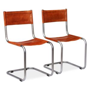 VidaXL Dining Chairs 2 pcs Brown Real Leather
