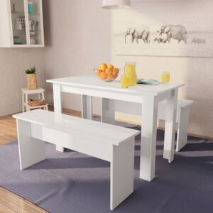Dining Table and Benches 3 Pieces Chipboard White