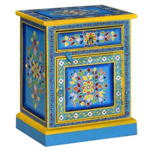 VidaXL Bedside Cabinet Solid Mango Wood Turquoise Hand Painted