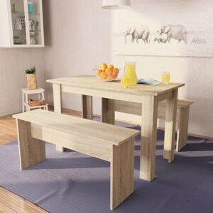 VidaXL Dining Table and Benches 3 Pieces Chipboard Oak