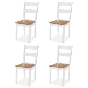 VidaXL Dining Chairs 4 pcs White Solid Rubber Wood