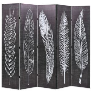 VidaXL Folding Room Divider 200x170 cm Feathers Black and White