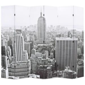 VidaXL Folding Room Divider 228x170 cm New York by Day Black and White