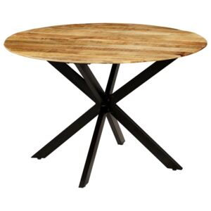 VidaXL Dining Table Solid Rough Mango Wood and Steel 120x77 cm