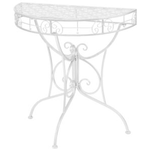 Side Table Vintage Style Half Round Metal 72x36x74 cm Silver