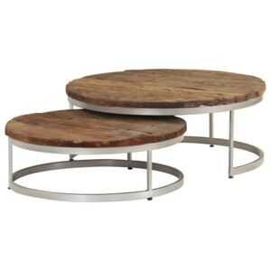 Coffee Table Set 2 Pieces Reclaimed Wood and Steel