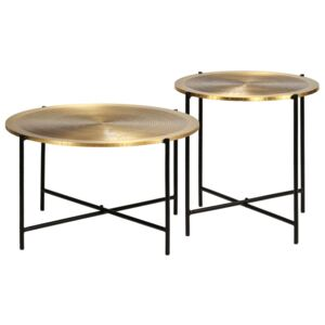 VidaXL Table Set 2 Pieces Brass-covered MDF