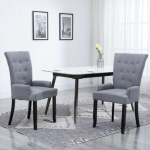 Dining Chair with Armrests Light Grey Fabric