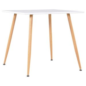 Dining Table White and Oak 80.5x80.5x73 cm MDF