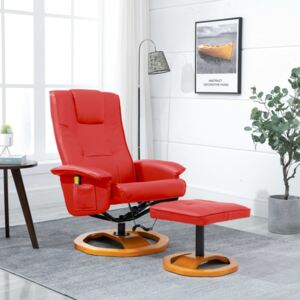 VidaXL Massage Chair with Foot Stool Red Faux Leather