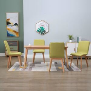 VidaXL Dining Chairs 4 pcs Green Fabric and Solid Oak Wood