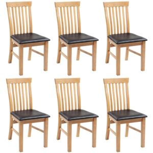 Dining Chairs 6 pcs Solid Oak Wood and Faux Leather