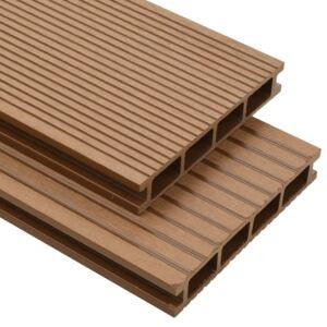 WPC Hollow Decking Boards with Accessories 10 m² 2.2 m Teak