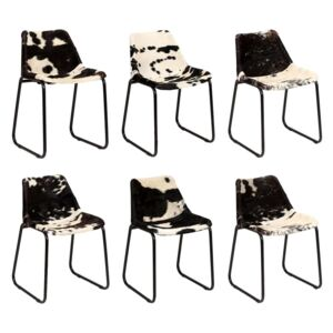 Dining Chair 6 pcs Genuine Goat Leather