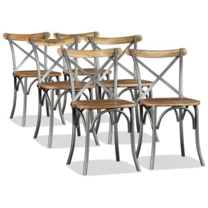 Dining Chairs 6 pcs Solid Mango Wood and Steel Cross Back
