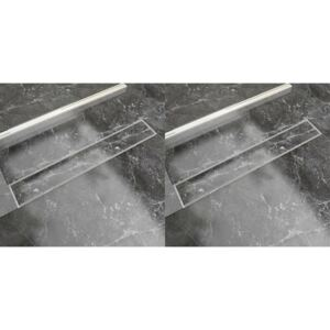 Linear Shower Drain 2 pcs 730x140 mm Stainless Steel