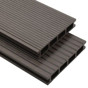 WPC Hollow Decking Boards with Accessories 10m² 2.2m Dark Brown