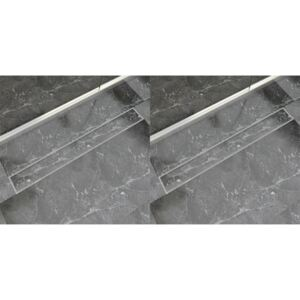 Linear Shower Drain 2 pcs 930x140 mm Stainless Steel