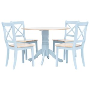 VidaXL 5 Piece Dining Set Solid Rubber Wood Grey and Brown