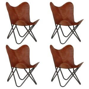 VidaXL Butterfly Chairs 4 pcs Brown Kids Size Real Leather