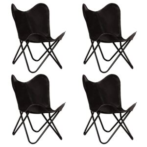 VidaXL Butterfly Chairs 4 pcs Black Kids Size Real Leather