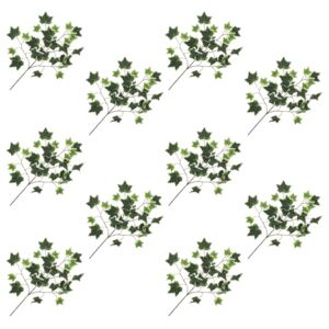 Artificial Leaves Ivy 10 pcs Green and White 70 cm