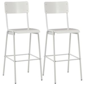 Bar Chairs 2 pcs White Solid Plywood Steel