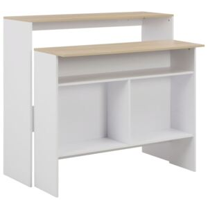 VidaXL Bar Table with 2 Table Tops White and Oak 130x40x120 cm