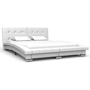 Bed Frame White Faux Leather 135x190 cm