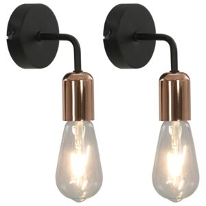 Wall Lights 2 pcs with Filament Bulbs 2 W Black and Copper E27