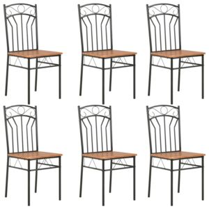 Dining Chairs 6 pcs Brown MDF