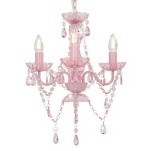 Chandelier with Beads Pink Round 3 x E14