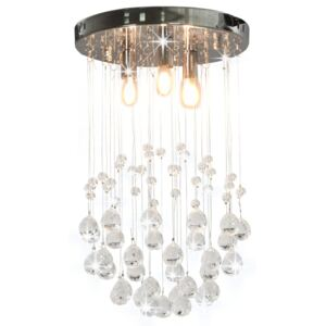 281575 Ceiling Lamp with Crystal Beads Silver Sphere 3 x G9 Bulbs