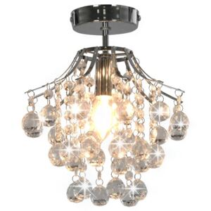Ceiling Lamp with Crystal Beads Silver Round E14