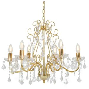 Chandelier with Crystal Beads Golden Round 6 x E14