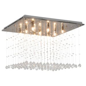 VidaXL Ceiling Lamp with Crystal Beads Silver Cubic G9