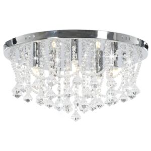 VidaXL Ceiling Lamp with Crystal Beads Silver Round 4 x G9 Bulbs