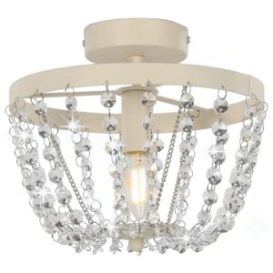 Ceiling Lamp with Crystal Beads White Round E14