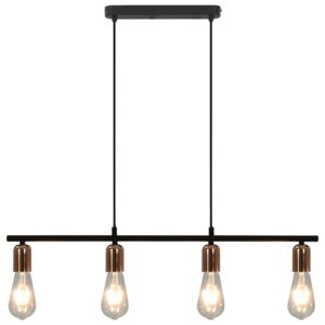 Ceiling Lamp with Filament Bulbs 2 W Black and Copper 80 cm E27