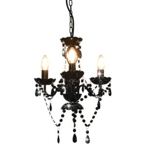 Chandelier with Beads Black Round 3 x E14