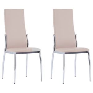VidaXL Dining Chairs 2 pcs Cappuccino Faux Leather